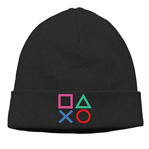 Momen's Playstation Joypad Soft Hip-Hop Black Beanies Watch Cap (Black Cap Watch)