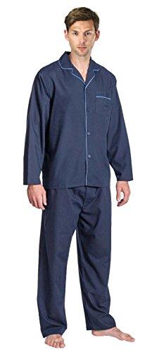 Herren Schlafanzug - Klassisches Design - Hemd & Hose marineblau / blauer Rand
