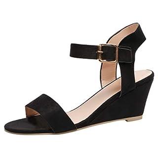 Saihui Damen Keilabsatz Sandalen Sommer Schuhe Slingback Sandalen Sommerschuhe Sandalette mit Keilabsatz (EU:43, Schwarz)