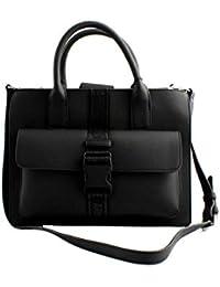 ARMANI EXCHANGE Borsa shopping a tracolla donna pelle gommata nera con logo  lucido a rilievo. 119fa4cbecd