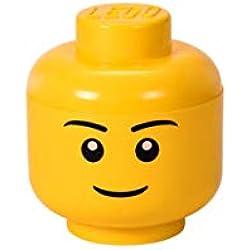 LEGO 40311724 Tête de rangement empilable Légo Garçon Petit modèle Plastique Jaune D16 x H19,5 cm