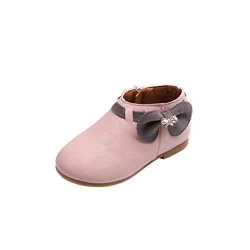 Babyschuhe,Sannysis Kleinkind Baby Mädchen Bowknot Sneaker Stiefel Reißverschluss Casual Schuhe (26, Rosa)