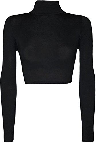 Commencer Damen Polo-Oberteil, Rollkragen, bauchfrei, kurzes elastisches Top Gr. S/M, schwarz (Damen Polo-top)