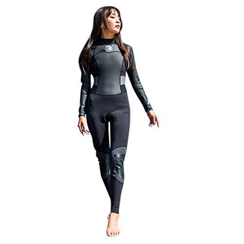 LOPILY Damen Neoprenanzug Wetsuit Schnorchelanzug Schnorcheln Surfbekleidung Wassersport Anzug Schnelltrocknend UV Schutz Sonnenschutz Schwimmanzug(X2-Schwarz,S)