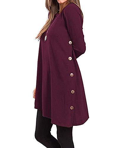 Damen Herbst Winter T-Shirt Kleider Casual Langarm Button Side Blusen Tunika Tops Dunkelviolett XL