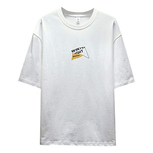 lbe Hülse Nähen T-Shirt Bedrucken,Straße Hipster Persönlichkeit Herrenbekleidung (WeißA,M) ()