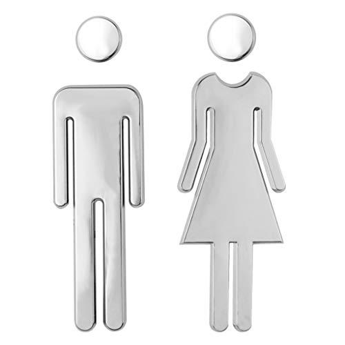 Jerbro WC Segno Targa Toilette Bagno Porta Targhetta Adesiva Segnaletica Simbolo Uomo e Donna Decorazione Domestica Facile da Applicare