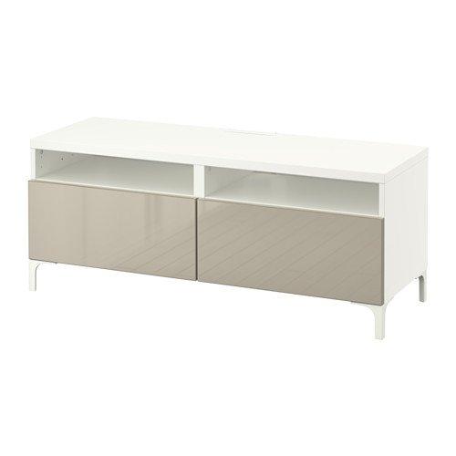 Ikea Meuble TV avec Frein tiroirs, Blanc, Selsviken Brillant/Beige 14202.20511.3814