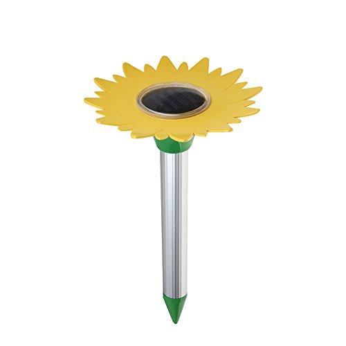 EVIICC Ultrasonic Solar Maulwurfabwehr Mole Ratte Maus Repeller Sonnenblume Solarenergie Deterrent Spike Schädlingsbekämpfung Maulwurfabwehr Maulwurfschreck für Outdoor Garten und Rasen