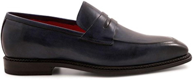 Leonardo Shoes Hombre 5205BLU Azul Cuero Mocasín
