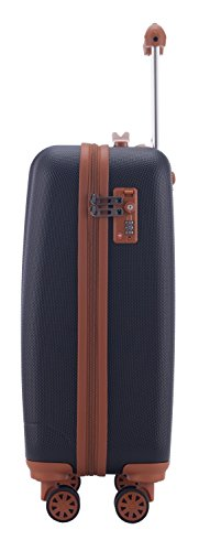 HAUPTSTADTKOFFER - Wannsee - Handgepäck Hartschalen-Koffer Trolley Rollkoffer Reisekoffer, TSA, 58 cm, 37 Liter, Dunkelblau/Braun - 4