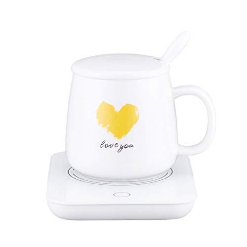 HYDD Elettrico Scalda Bevande con Tazza Pannello Vetro Temprato Piastra Riscaldante per Scaldabagno Riscaldamento Cuscino per Pad a Tazza Caldo per tè Latte caffè