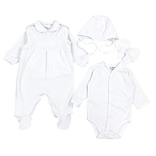 TupTam Unisex Baby Bekleidungsset Taufkleidung 5-tlg, Farbe: Weiß, Größe: 56