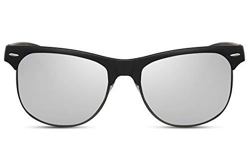 Cheapass Sonnenbrille Halb-Rahmen Matt-Schwarz Silber Verspiegelt UV-400 Groß Rund Plastik Herren