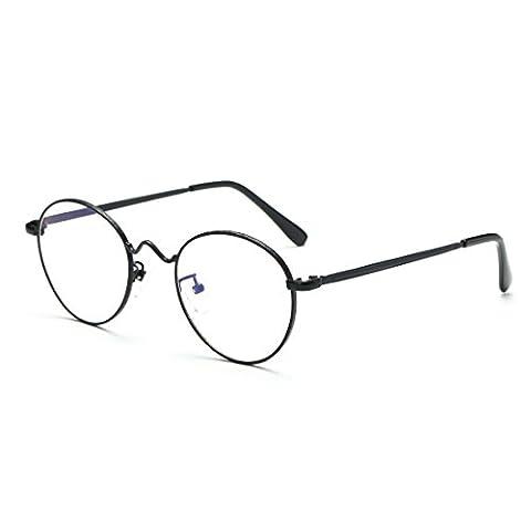 Cyxus filtre bleue lumière lunettes, rétro ronde cadre [transparent lentille] anti fatigue oculaire Mode Noir Cadre