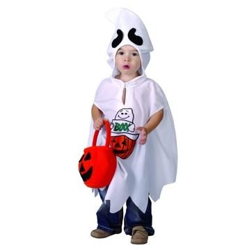 Gespenst Kostüm Kind weiß Halloween mit dem Korb (92-104) - komplettes Gespenst Kostüm Kleinkind - Geist Kostüm Kinder (Kleinkind Kostüme)