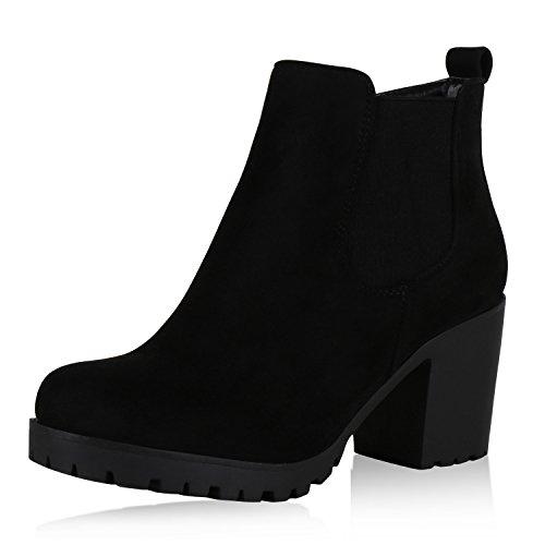 Damen Plateau Stiefeletten Chelsea Boots Profilsohle Schuhe Schwarz Velours 38