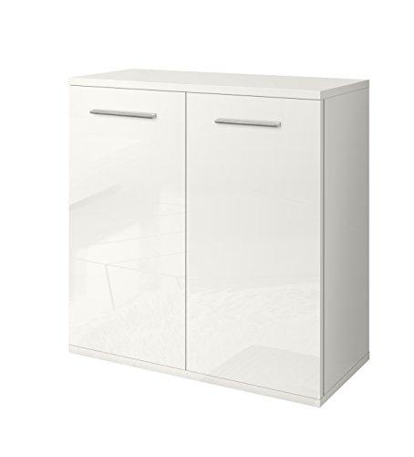 Valentini Nettuno Meuble 2 Portes, Bois, Blanc laqué Brillant, 36 x 80 x 82 cm
