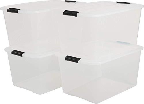 IRIS, 4er-Set stapelbare Aufbewahrungsboxen 'Top Box', mit Deckel und Klickverschluss, 45 Liter, Kunststoff / Plastik, transparent, 39 x 57,5 x 30 cm