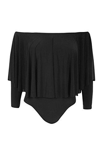 Noir Femme Olivia Body Long À Volants Et Épaules Dénudées Noir