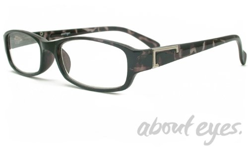 G407 Black Pattern Reading Glasses with Silver Trim Lens Strength +3.0 by About Eyes