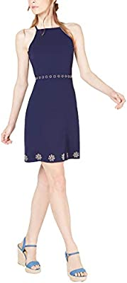 Michael Kors Women's Studded Embellished Apron Neck Dress, X-Small, True Navy