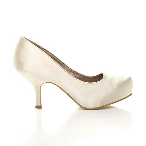 Damen Kleiner Mittel Absatz Versteckte Plateau Arbeit Fesch Schuhe Pumps Größe Elfenbein Satin