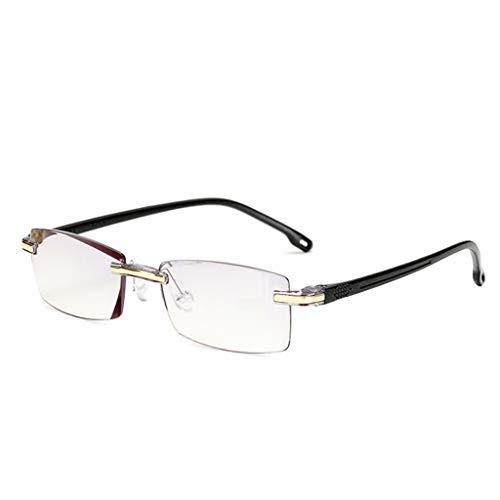 Hoxin Elegante Anti-Blu-Ray Lesebrille, ultraleichte randlose presbyopische Brille EIN Stück transparent klar +1.00 ~ +4.00 (+2.00, Schwarzer)