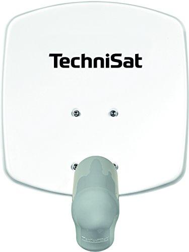 TechniSat SATMAN 33 Satellitenschüssel, 33 cm Sat-Anlage mit Wandhalterung und V/H Single-LNB (Ein Teilnehmer) weiß