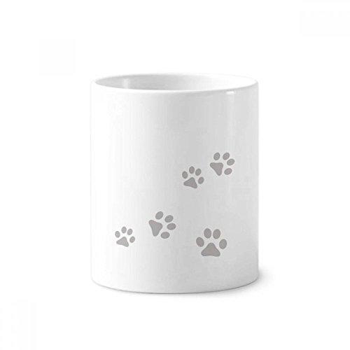 Katze Meow Animal Gray Art Fußabdruck Pfotenabdruck Keramik Zahnbürste Stifthalter Becher weiß Tasse 350ml Geschenk -