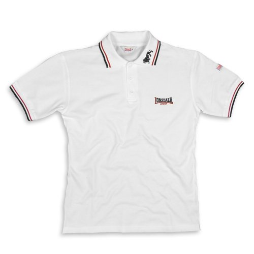 Lonsdale - Polo Shirt Lion, Polo, unisex, Bianco (weiß/bordeaux/blau), Medium