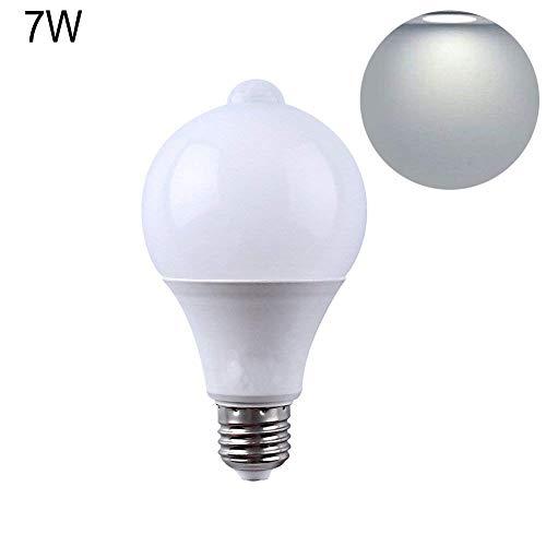 Hesdzml lampadina LED, corpo umano induzione a infrarossi lampadina LED corridoio lampada garage auto ON off, bianco, 7W