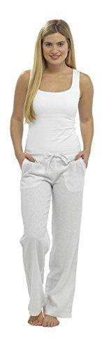 Damen Damen Komplett Länge Leinenhose Mit Elastischer Bund mit Skechers Stiefel Socken - Weiß, 40