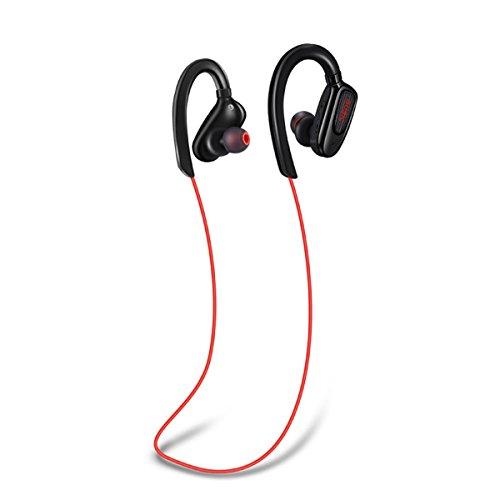 TYWZF Auriculares Bluetooth, Auriculares Inalámbricos Bluetooth 4.1 Cancelación De Ruido Auriculares Magnéticos Estéreos Impermeables Secure Fit para Sport Gym,Red