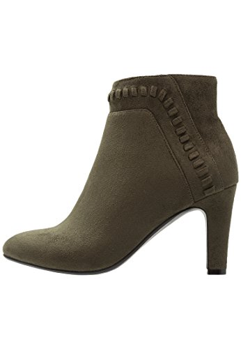 Anna Field Ankle Boots Damen in Khaki - Boots mit Trichterabsatz in Größe 38