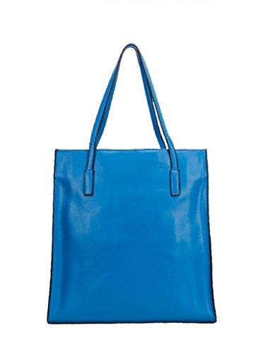 PACK Leder Handtaschen Mode Casual Schultertasche Einkaufstasche Mama Tasche Koreanische Version Big Bag,E:Beige(vertical) A:Blue(vertical)
