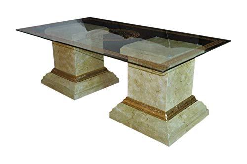 Rechteckiger Glastisch Wohnzimmertisch Marmor Tisch Couchtisch Mäandermuster Versa Serie -