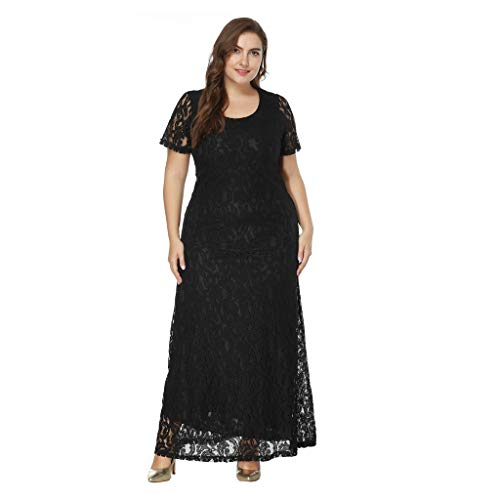 JUTOO 2018 Ropa de Mujer Women Solid Oversize Vintage Floral Lace Plus Size Cocktail Formal Swing Dress