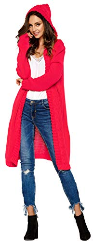 Hochwertiger, modischer Cardigan mit Kapuze Knielang * Strickjacke Damen Jacke lang Mantel...
