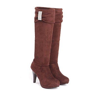 Stivali da donna Autunno Inverno Inverno Cuoio in vestito Cono Tacco Fibbia Rosso Marrone Grigio Nero Camminare Black