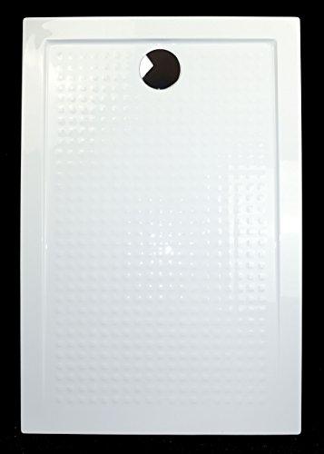 duschwanne 140 Art-of-Baan® - Extra flache Duschtasse, Duschwanne aus Acryl, Antirutsch (ABS) Weiß Hochglanz; 140x80x3,5cm inkl. Ablaufgarnitur
