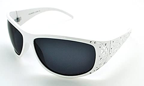 VOX Polarized Trendy Classic High Quality Womens Hot Fashion Sunglasses w/FREE Microfiber Pouch - White Frame - Smoke