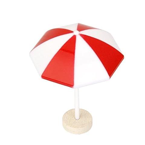 LUOEM Strand Sonnenschirm Mini Regenschirm Landschaft Bonsai Dollhouse Handwerk Dekor Rot