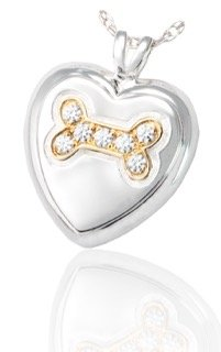 Personalised Pet Ashes Necklace - Dog Bone in a Silver Heart and studded with Gemstones(92.5% pure Silver) with Gold Bone
