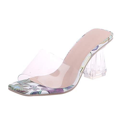 COZOCO Damen Imitation Kristall Ferse Hausschuhe Mode Transparente Sandalen Outdoor Freizeit Hausschuhe Slippers Pantoffeln(Lila,37 EU)