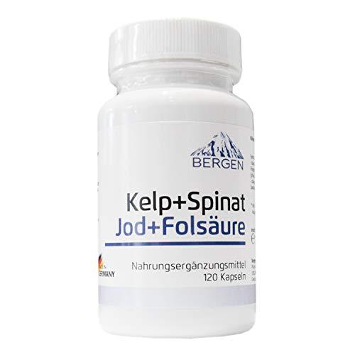Natürliche Folsäure + Jod (aus Kelp Algen Extrakt + Spinat Extrakt) 120 Kapseln. 150 µg Jod + 800 µg Folsäure Für Kinderwunsch + Schwangerschaft. -
