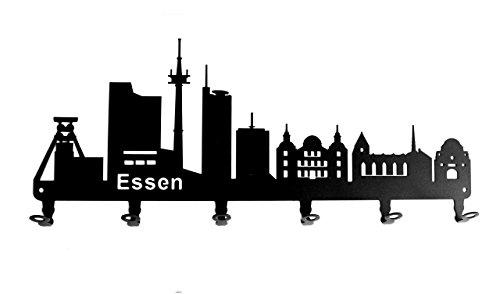 steelprint.de Wandgarderobe - Skyline Essen - Flurgarderobe - Nordrhein-Westfalen NRW - Kleiderhaken, Hakenleiste, Garderobeneiste, Garderobenhalter, Garderobe - Metall, Schwarz