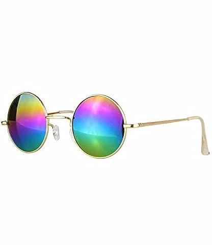 caripe runde Lennon Sonnenbrille Retro Vintage Brille (gold - rainbow verspiegelt)