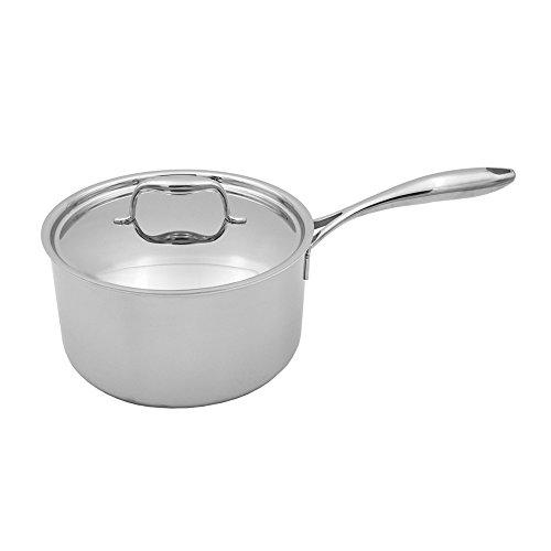 Tuxton Home THBCS2-SS3-M Duratux Tri-Ply 3.32 Quart Dishwasher and Oven Safe Covered Saucepan, 3.32QT, Stainless Steel