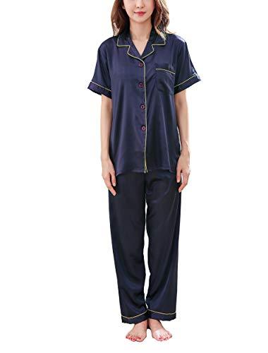 Accappatoio donna primavera autunno Modal camicia da notte manica lunga risvolto cardigan pigiama camicia da notte casa spa hotel nero small Nero